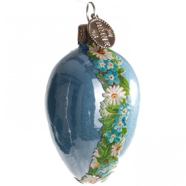 .Påskeæg, lys blå med blomsterranke