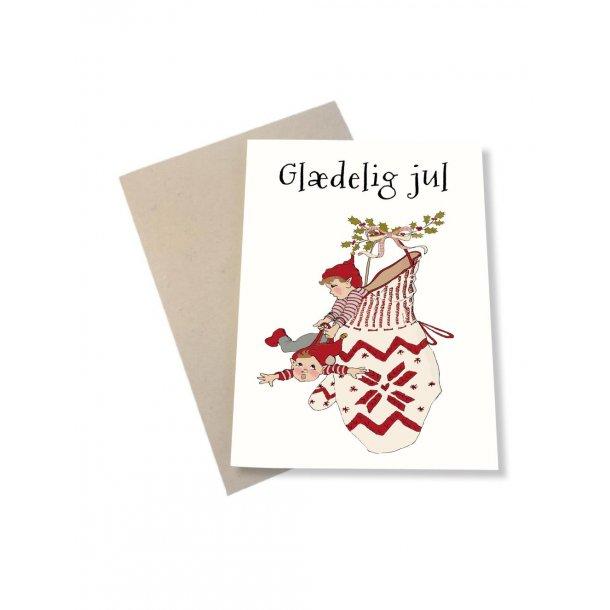 Glædelig Jul fra to små nisser i vanten