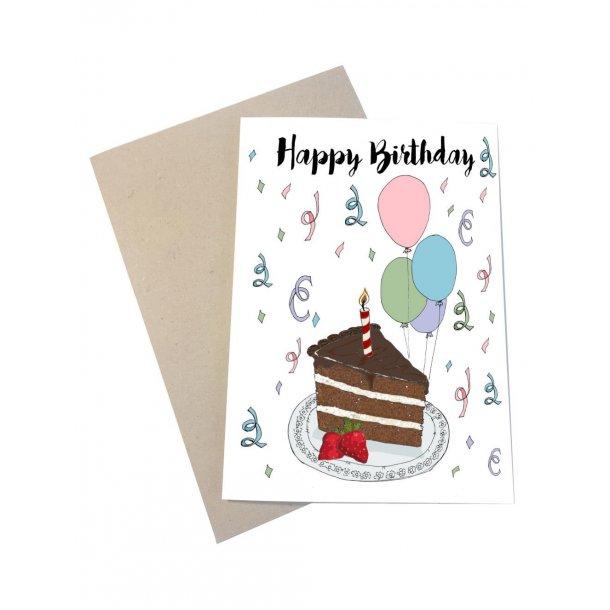 Happy Birthday - med lys i kagen og balloner