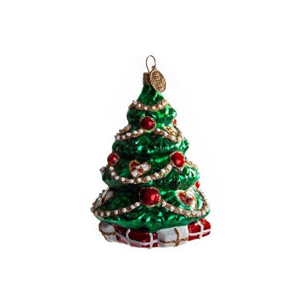 Juletræ med julehjerter, 10 cm.