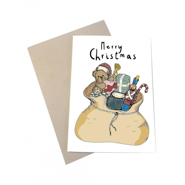 Merry Christmas med en kæmpe julegavesæk fyldt til randen med gaver
