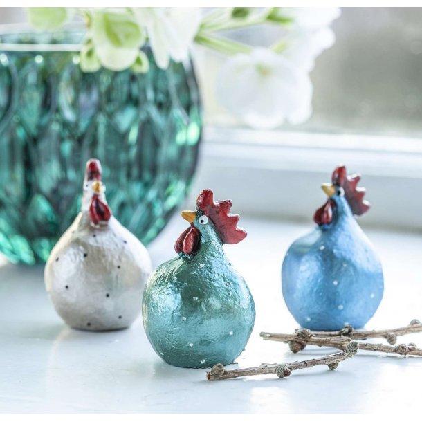 Hønse trio, blå-grøn-perlemor,  5cm fra Nääsgränsgården