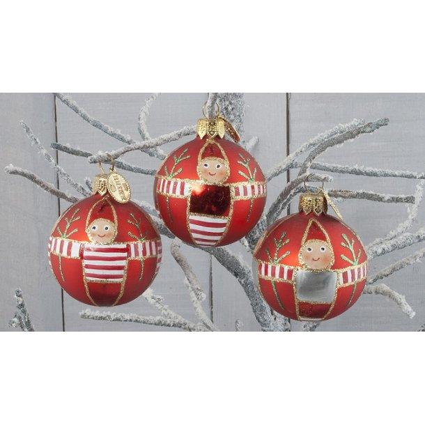 Julekugler med nissebørn, 3 stk.