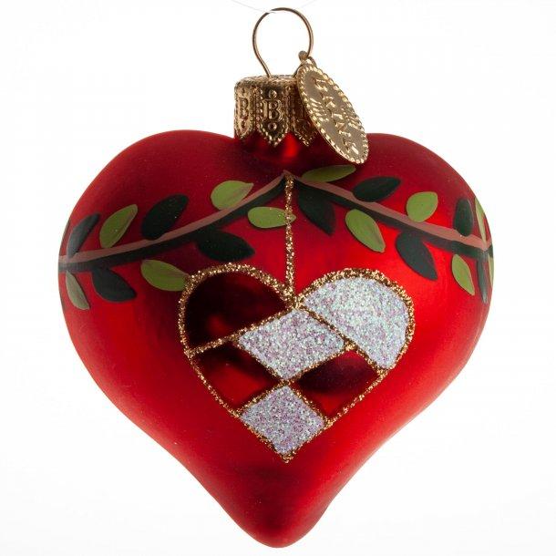 Rødt Hjerte med Granranke og Flethjerte fra Brink Nordic